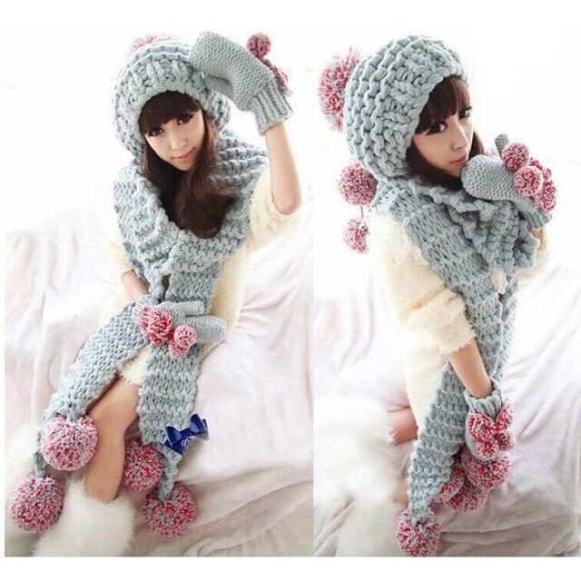 2017 Women winter beanies hat set Knitted crochet beanies+scarf+ ...
