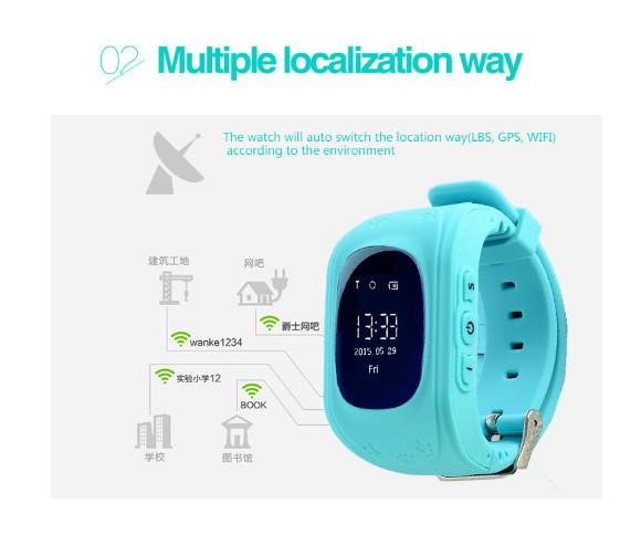Frete grátis q50 gps smart kid safe smart watch sos ligue Location Finder Locator Rastreador para Criança Monitor Anti Perdido bebê