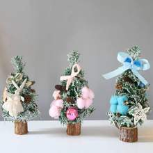Mini Artificial Christmas Tree 10-Inch Round Wood Base Desk Table Display Ornaments Decorations Christmas Tree(China)
