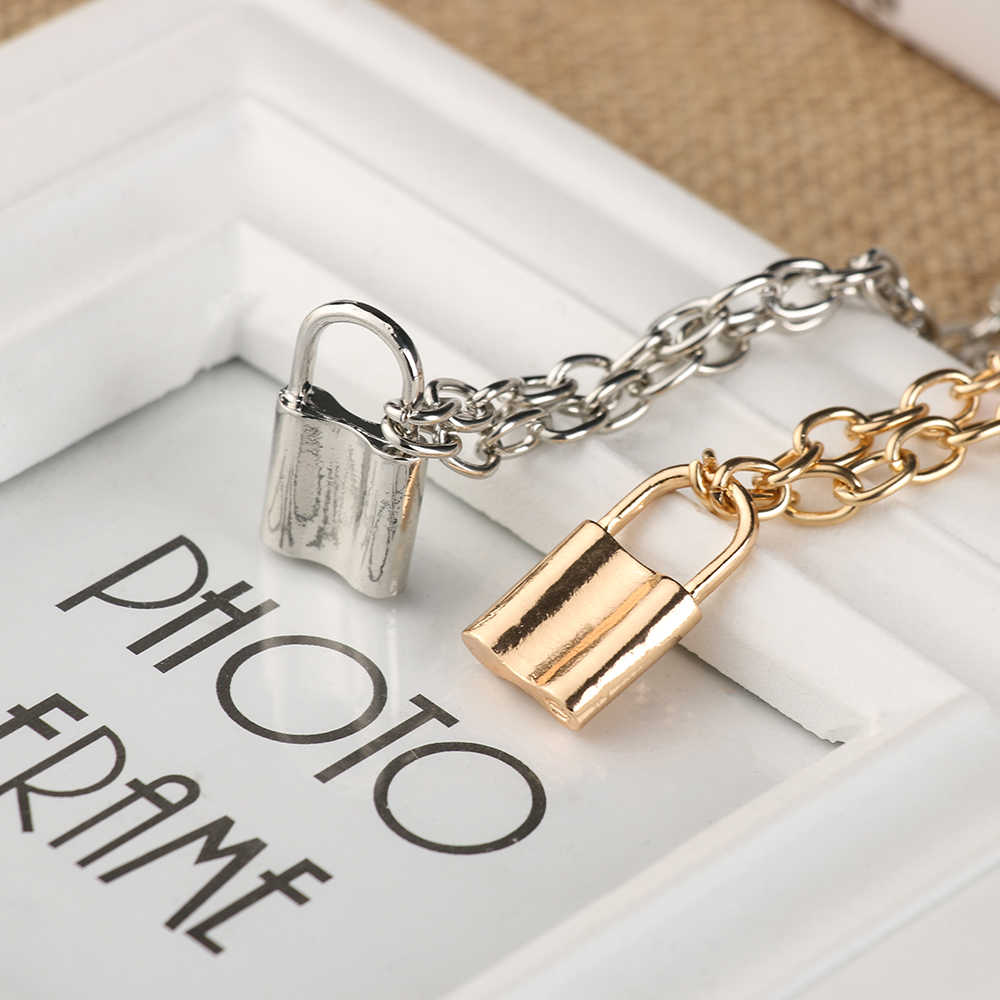 Women Jewelry Silver Color PadLock Pendant Necklace Brand New Stainless Steel Rolo Cable Chain Necklace Friendship Gifts