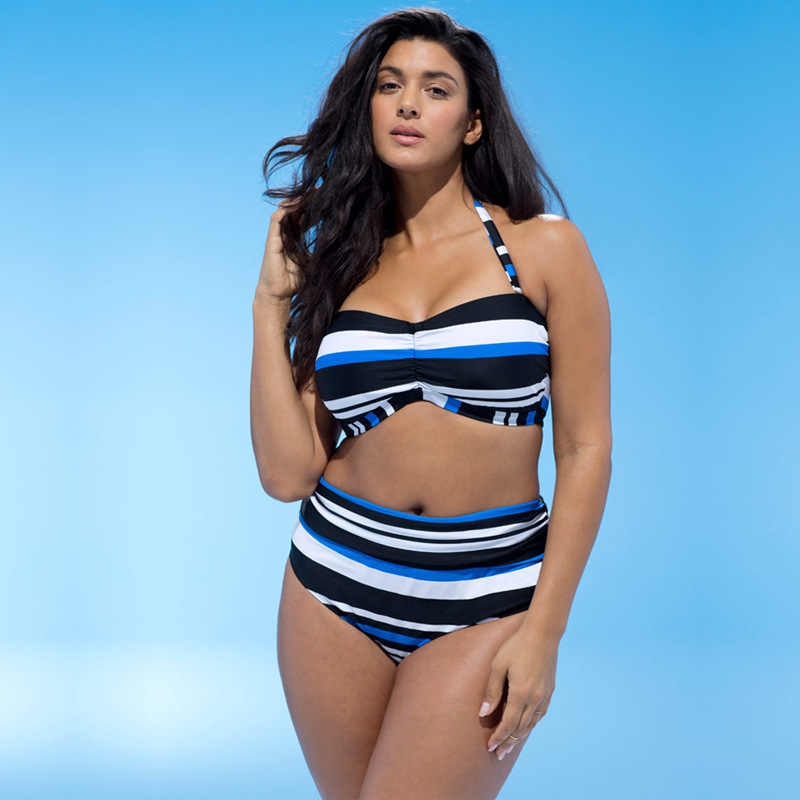 a935074e00 Ladies Swimwear Bikinis Large Size Sexy Striped Hard Bag Swimsui Plus Fat  Big Size Bikini