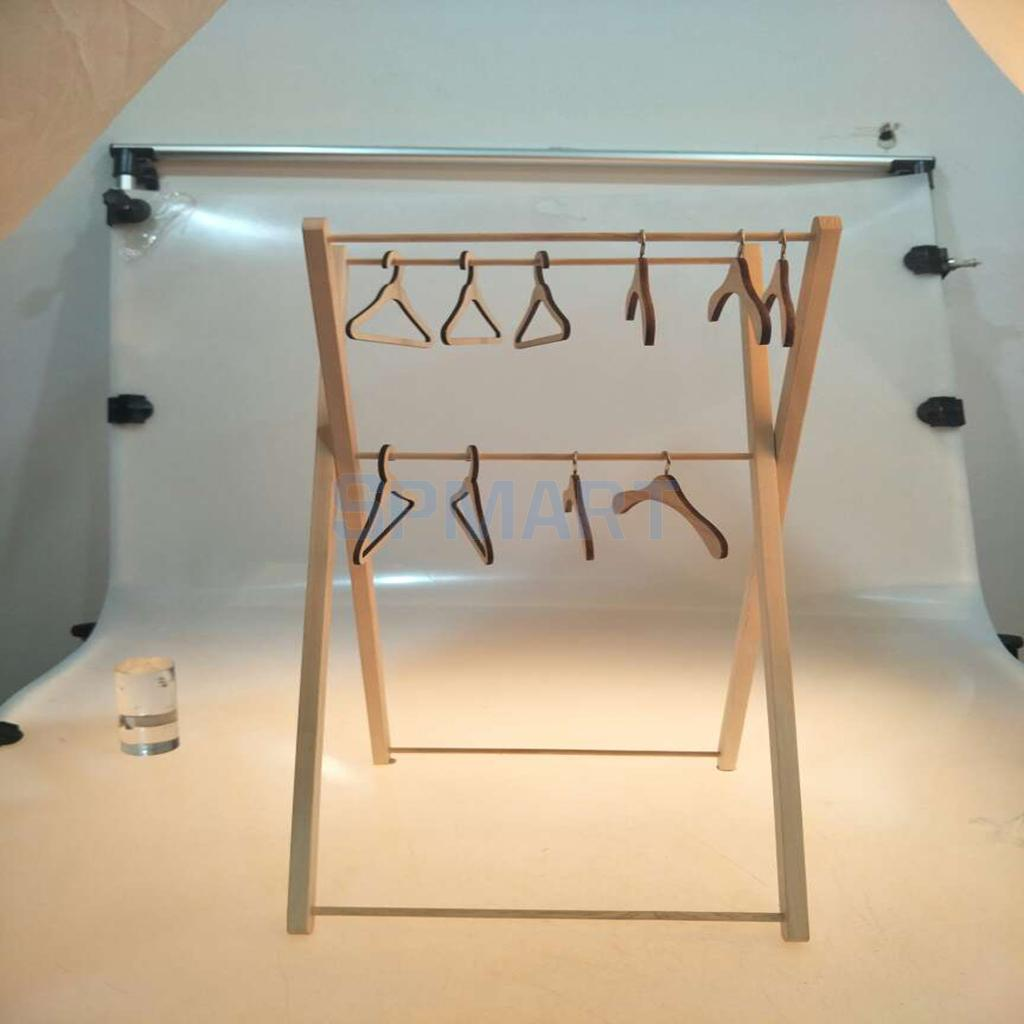 59cm Height Adjustable Wooden Clothes Hanger Doll Hanging Shelf for 1/3 1/4 1/6 1/8 BJD DOD LUTS Barbie Blythe Doll Accessory free match stockings for bjd 1 6 1 4 1 3 sd16 dd sd luts dz as dod doll clothes accessories sk1