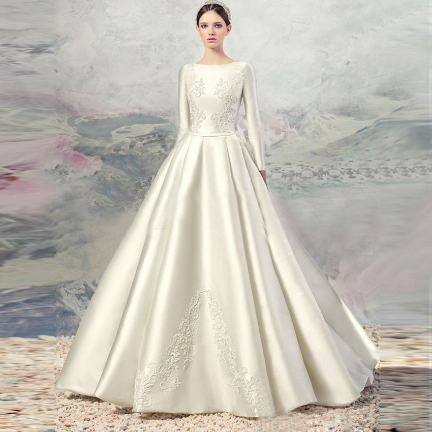 Online buy wholesale dress widding from china dress for Satin silk wedding dresses