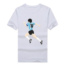 2017 New fashion Argentina diego Maradona dribbled past 5 defenders T shirt 100% cotton  t-shirt