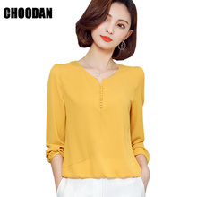 Long Sleeve Blouse Shirt Women Clothes 2017 Autumn Korean Style V neck Solid White/yellow/red/pink S-4XL Large Size Female Tops(China)