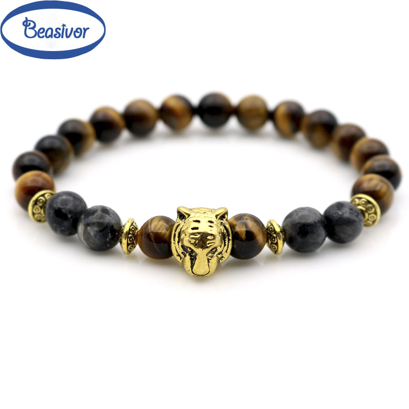 Gold color Tiger Head Strong Moon Stones Men Powerful Wrap Beaded Bracelets Stretch Male Jewelry