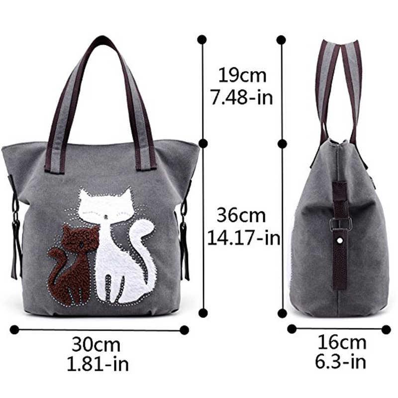 5315d74af928 ... Новая Милая Холщовая Сумка-тоут с кошкой, повседневная сумка-шоппер,  сумки на