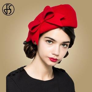 Image 2 - FS eleganckie wełniane fascynatory Fedora kobiety czerwone kapelusze kościelne biały czarny ślub damski kapelusz filcowy łuk berety czapki kaszkiet Chapeau