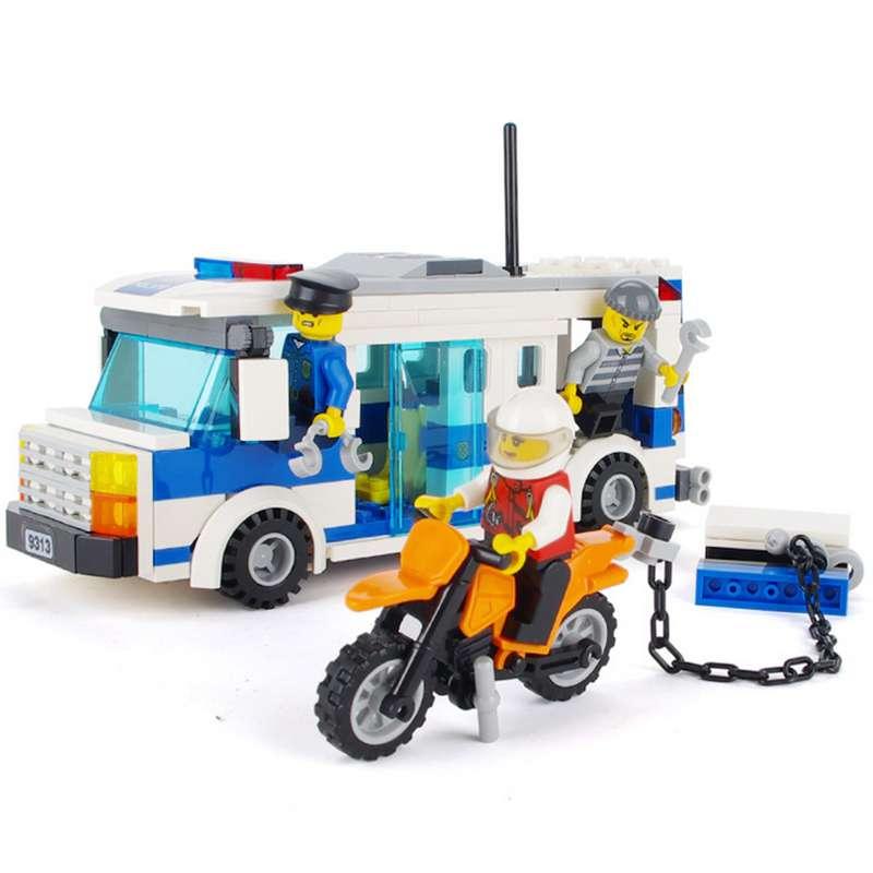 GUDI Police Prisoner Car Blocks Toys for Children Assembled Model Building Kits Car Blocks Toys Educational Christmas Toys 9313 gudi earth border blocks children