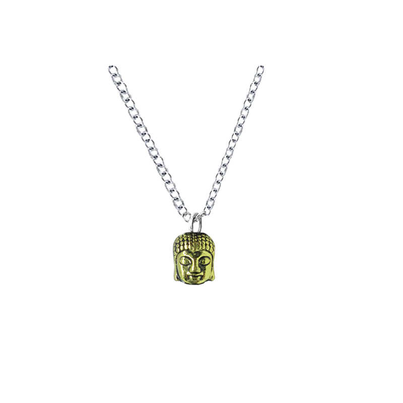 Budda naszyjnik srebrny i złoty śmiejąc się buddy odzież akcesoria wisiorek dla religijnych Karma buddyzm biżuteria Charms niezwykły prezent