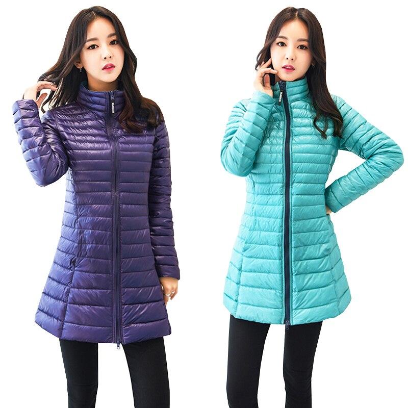 New Autumn Winter Double-Sided Wearing Long Down Coat Women Slim Ultra-Light Duck Down Jacket Plus Size Windproof Outwears Mw512