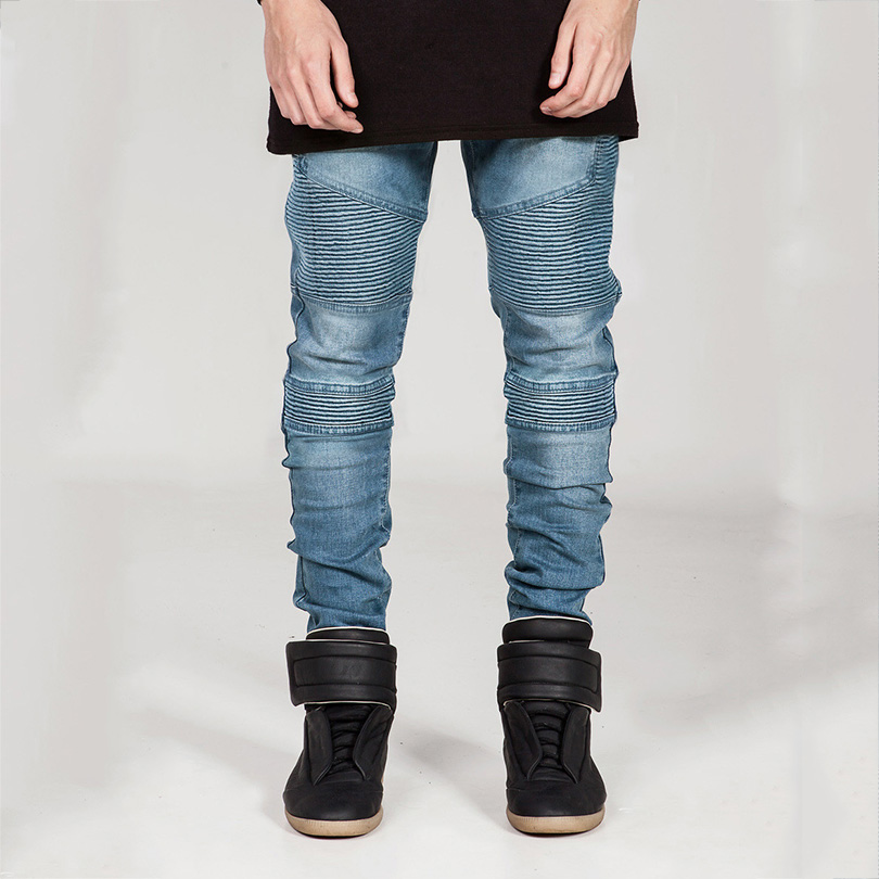 2016New Men Jeans Micro bomb Slim personality Full Length Pleated Solid Brand Design for Men Hot