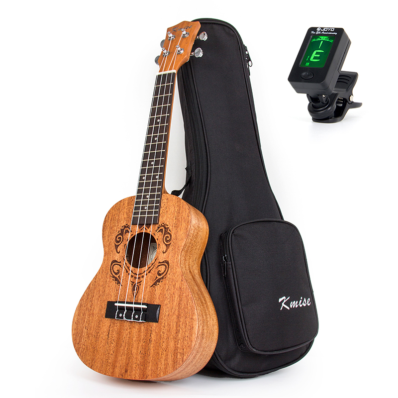 Kmise Concert Ukulele Mahogany 23 inch 18 Fret 4 String Hawaii Guitar with Gig Bag Tuner ukulele 23 inch four string small guitar hawaii travel little guitar mahogany child guitar