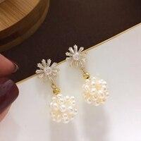 Yuaner Natural Fresh Water White Pearl Earrings For Women Coral Powder Earrings Luxury Fine handmade Jewelry YEB