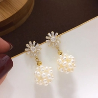 a72c17ac793a Yuaner Natural Fresh Water White Pearl Earrings For Women Coral Powder  Earrings Luxury Fine Handmade Jewelry