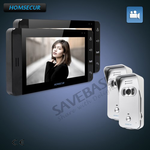 HOMSECUR 7 Video Door Entry Security Intercom+Touch Button Monitor+Black Monitor 2C2M for House/Flat