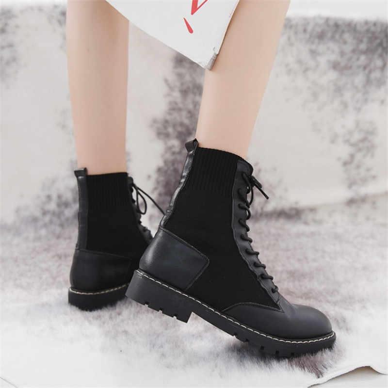 COOTELILI Moda düz ayakkabı Kadın Platformu PU Deri Çizmeler Lace up Kadın Ayakkabı yarım çizmeler Kızlar