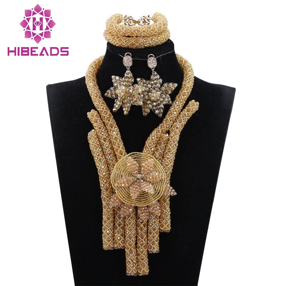 Gold African Jewelry Sets Crystal Champagne Chunky Bib Statement Necklace Earrings Set Women Jewelry Set ANJ374 цена 2017