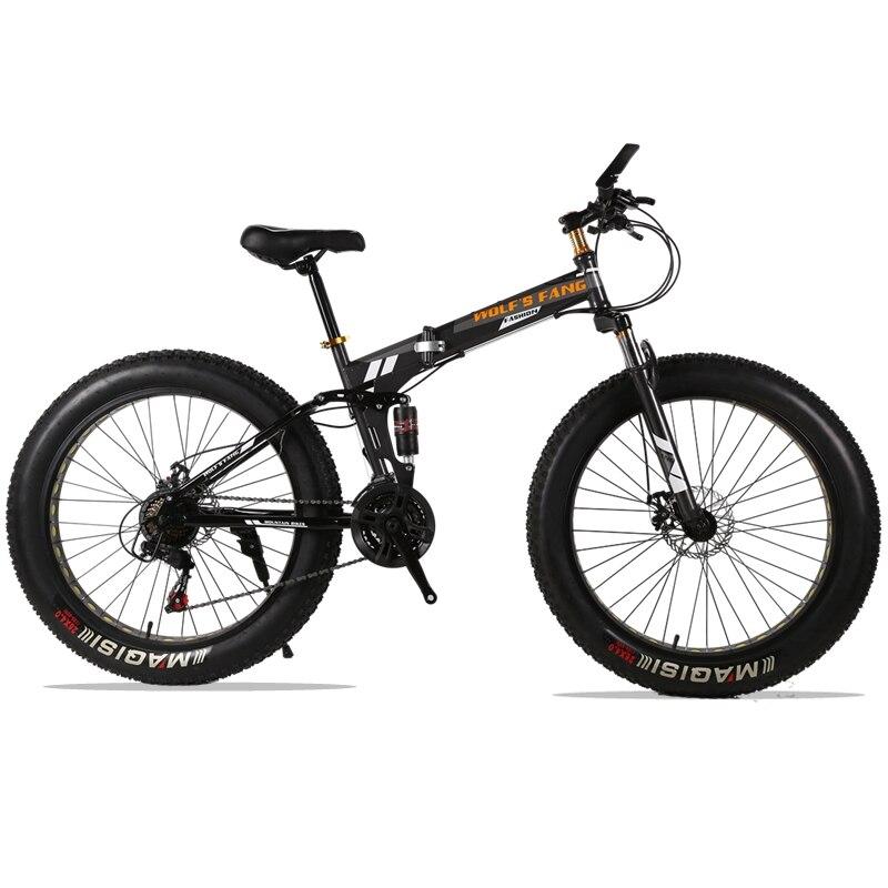 (Только для России) Высококачественный складной велосипед фэтбайк 26 дюймов 7 скоростей 21 скорость 26 x 4.0 Передний и задний демпфирующий вело...