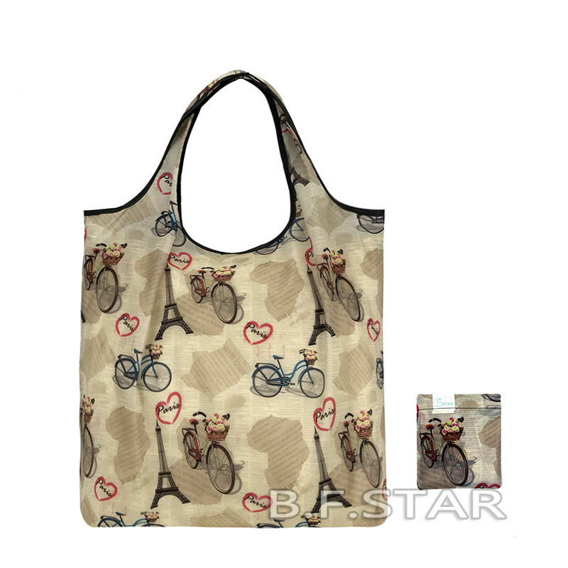 Eco Polyester Foldable Shopping Bag Portable Large Capacity Reusable Folding Grocery Bag Recycle Tote Bag Shopper Handbag