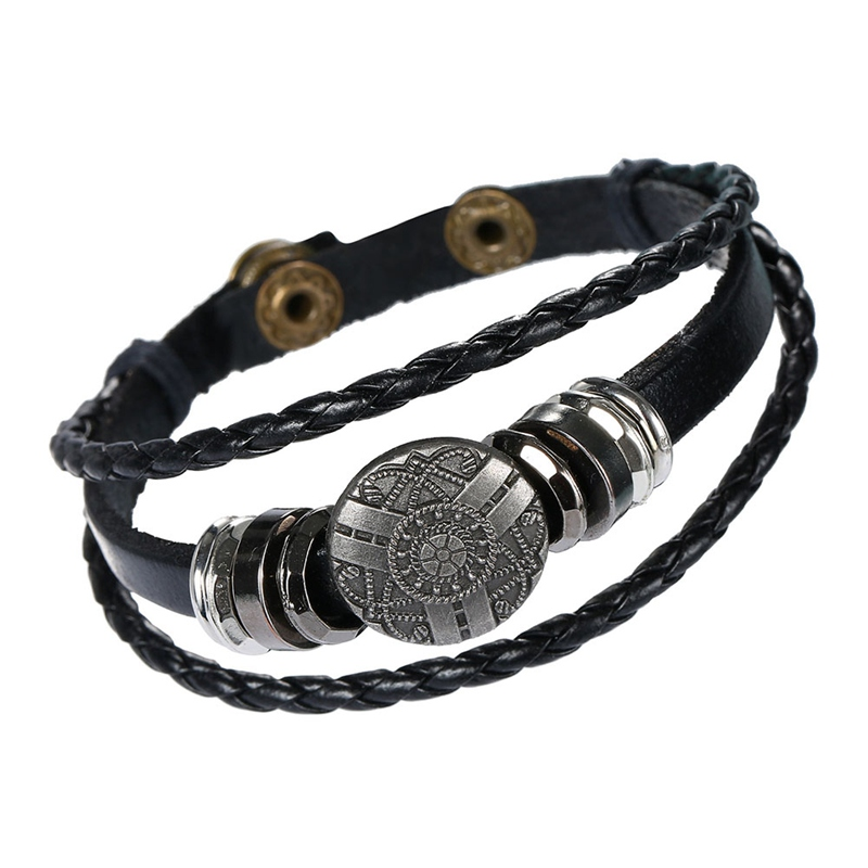 2018 New Fashion Style Handmade Retro Leather Woven Charm Rock Bracelet Men Vintage Braided Bangles Men Jewelry