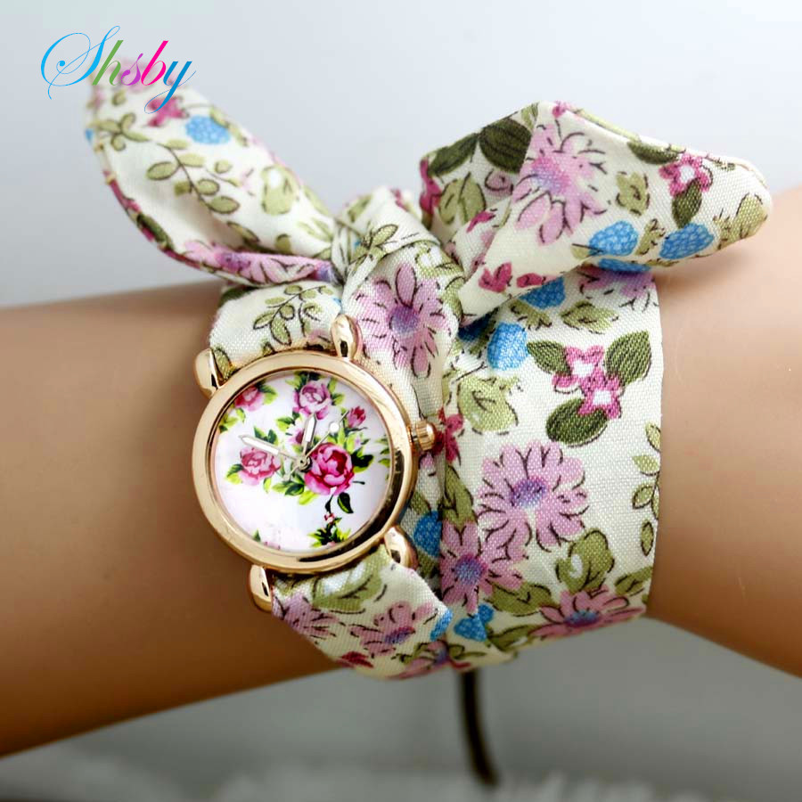 shsby  New design Ladies flower cloth wristwatch fashion women dress watches high quality fabric watch sweet girls watch giftshsby  New design Ladies flower cloth wristwatch fashion women dress watches high quality fabric watch sweet girls watch gift