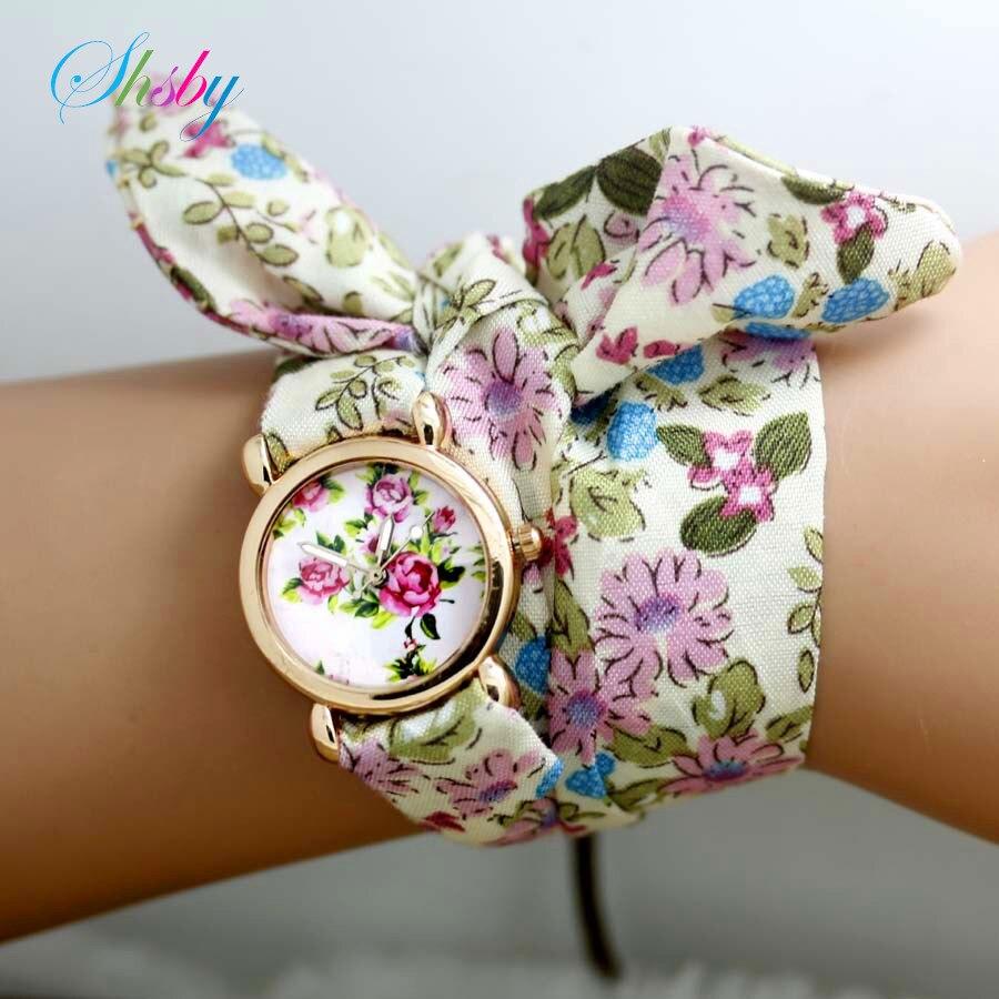 shsby New design Ladies flower cloth wristwatch fashion women dress watches high quality fabric watch sweet girls watch gift