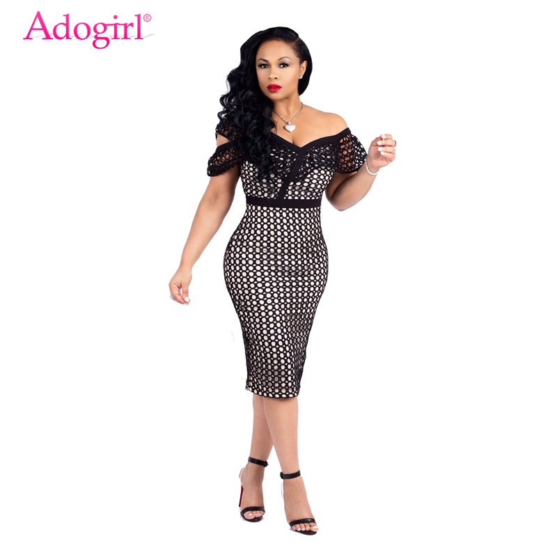 Adogirl Fishnet Mesh Patchwork Ruffle Women Party Dress Sexy Off Shoulder Bodycon Ladies Midi Office Dress Work Wear Club Outfit