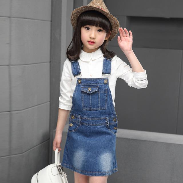Nueva Marca de estilo de Diseño de Moda 2017 Europa y los Estados Unidos populares Niñas Denim Overoles Falda de Alta Calidad Jean Faldas
