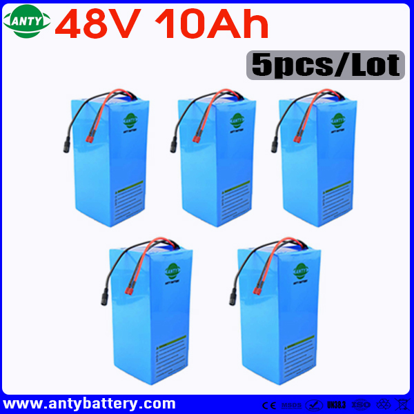 Wholesale 5pcs/Lot Battery 48v 10ah 720w Built in 15A BMS Lithium Battery 48v with 2A Charger eBike Battery 48v Free Shipping