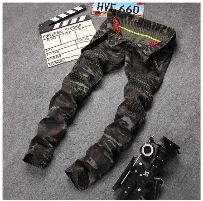 все цены на European American style Men's jeans army green denim trousers camouflage jeans luxury brand Slim Straight Military jeans for men онлайн