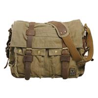 HEBA Men's Vintage Canvas Leather School Military Shoulder   Bag   Messenger Sling   Crossbody     Bag   Satchel
