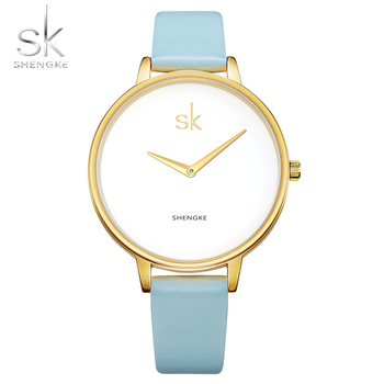Shengke Women Watches Luxury Blue Macaron Color Women's Quartz Watch Female Genuine Leather Strap Montre Femme SK New image