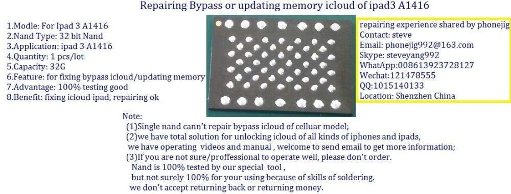 ipad3 nand 32g remove icloud, nand flash bypass locked id