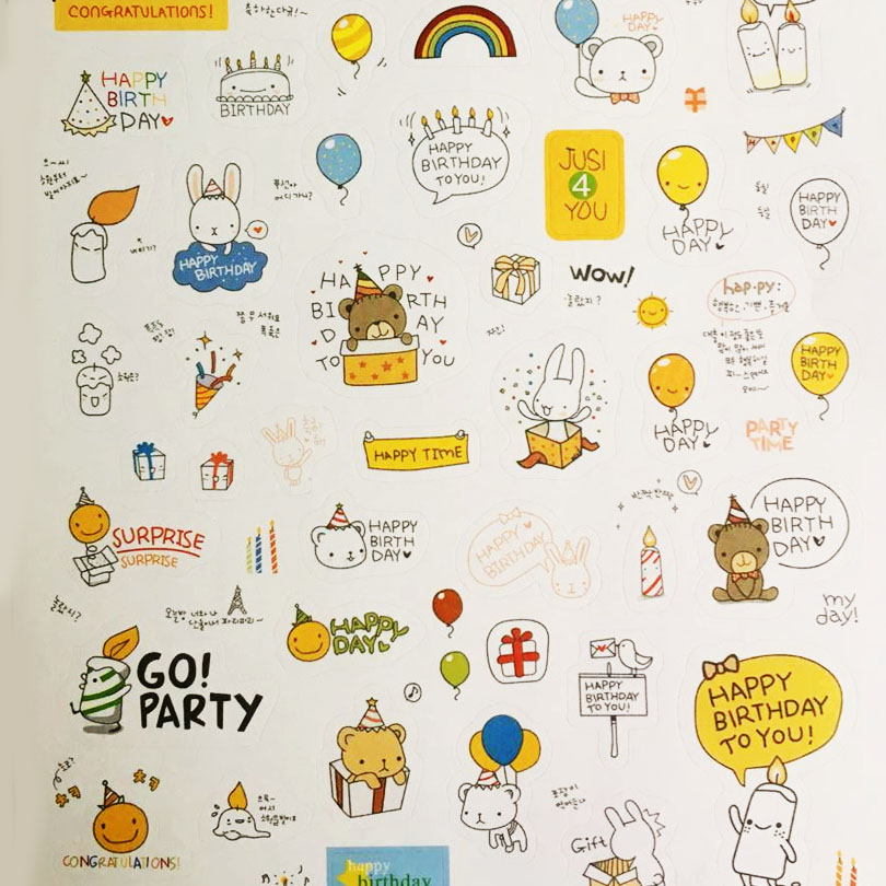 2packs/lot Creative Happy Day Rainbow and Animal paper Sticker/Multifunction/Cartoon DIY Paper Sticker/Sign post GT261