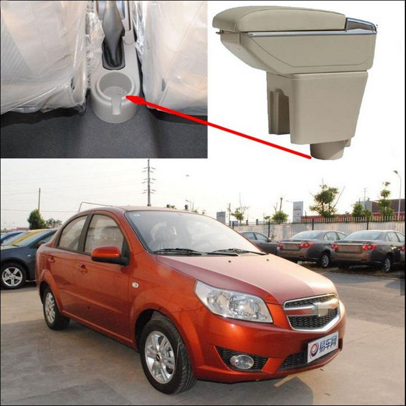 Car Armrest Central Store content Storage box with cup holder ashtray Accessories for Chevrolet Aveo Lova