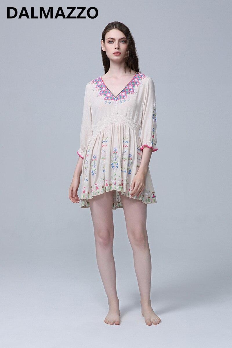 Harajuku Womans Black White Embroidery Hippie Boho Mini Dresses Femme 2019 Spring Design Women Bohemia V Neck Loose Sexy Dress