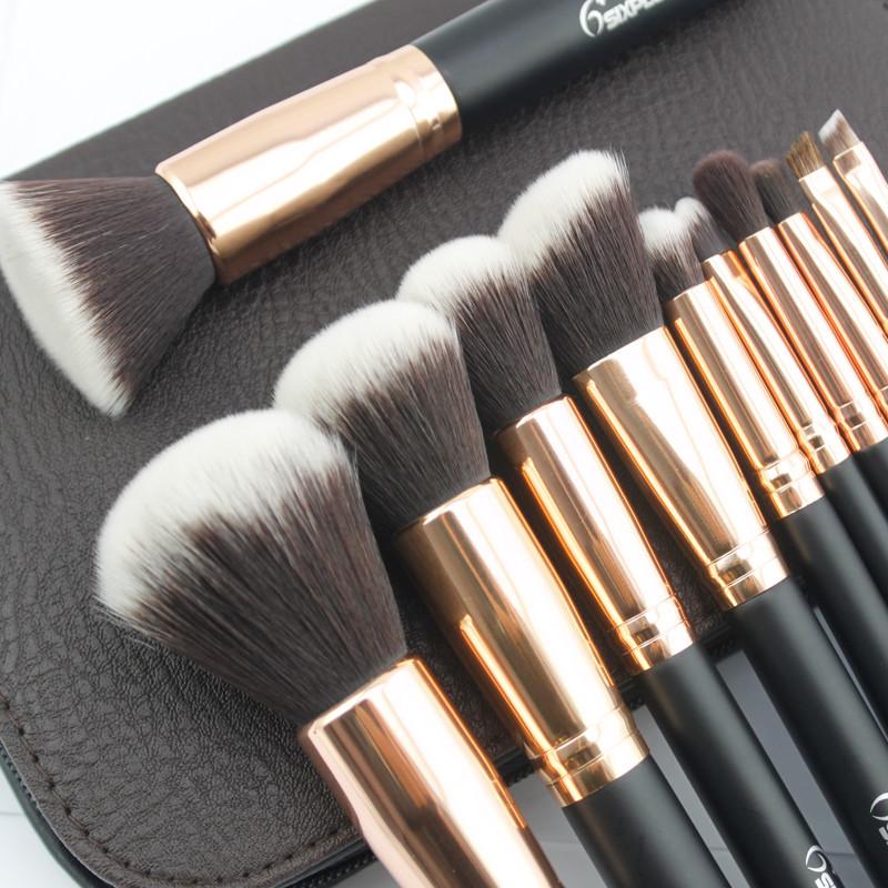 df77bedaa37 Sixplus Pro 11Pcs Rose golden Makeup Brush Set Face Powder Brushes ...