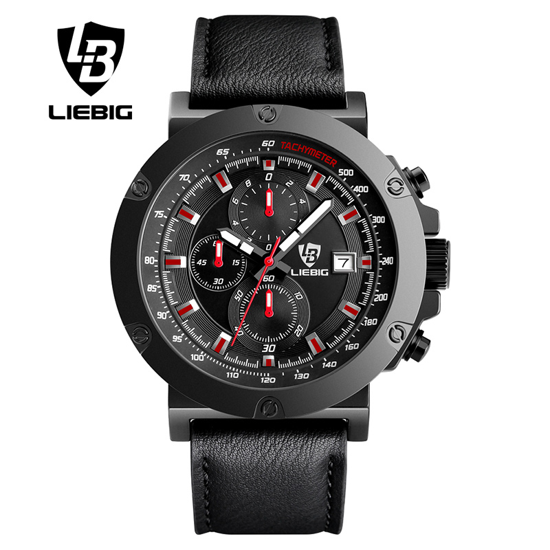 Watches Men Sport Men's Quartz Watch 50 Meter Waterproof Genuine Leather Strap Big Dial Luxury Brand Wristwatch Man LIEBIG 1018 платье trendyangel trendyangel tr015ewqlj60
