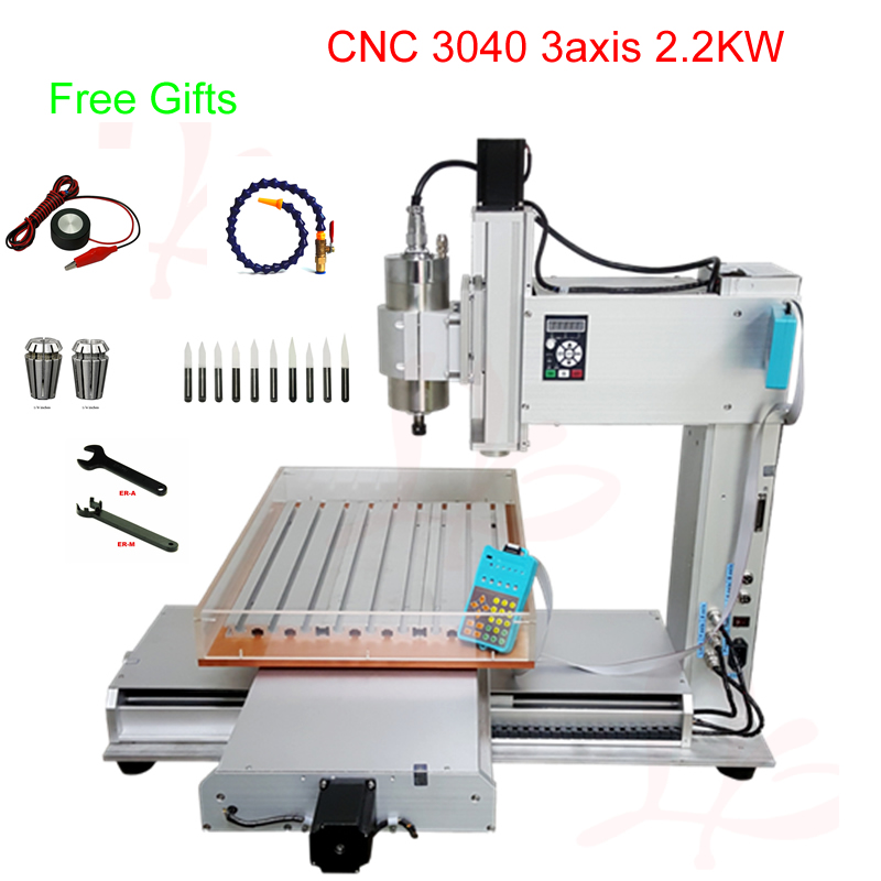3axis Cnc Engraving Machine 3040 Vertical Type Cnc Milling Machine With 2.2kw Water-cooled Spindle