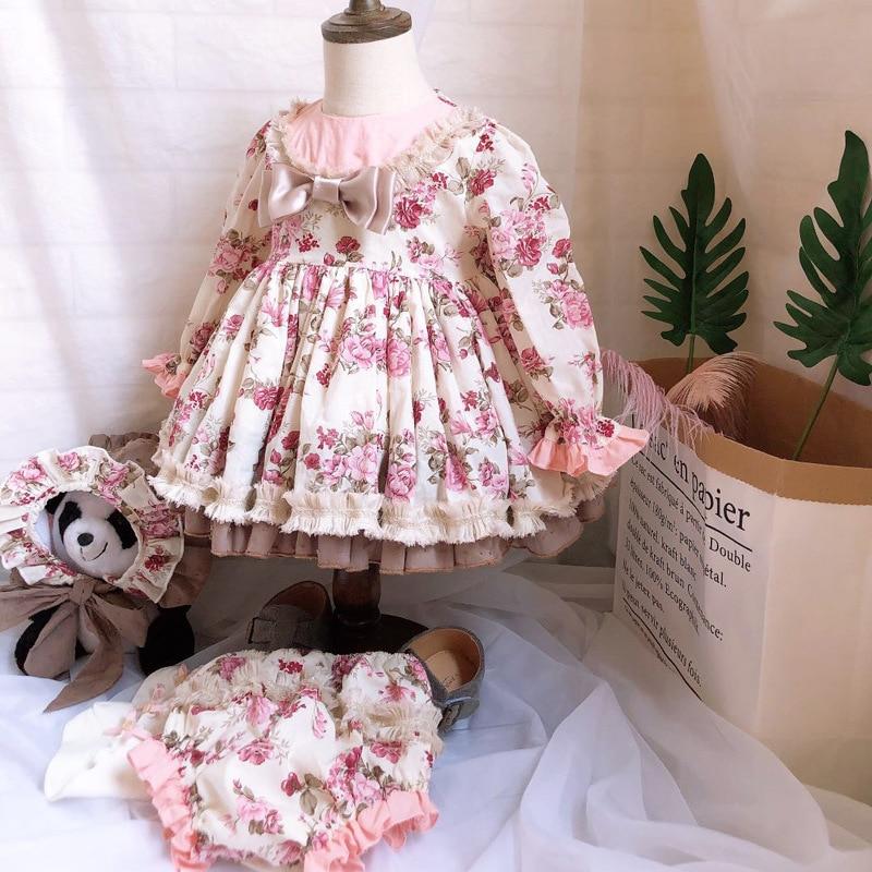 2019 gros automne hiver fille Vintage espagnol robe Pompon balle princesse robe Lolita noël robe de soirée pour fille G049