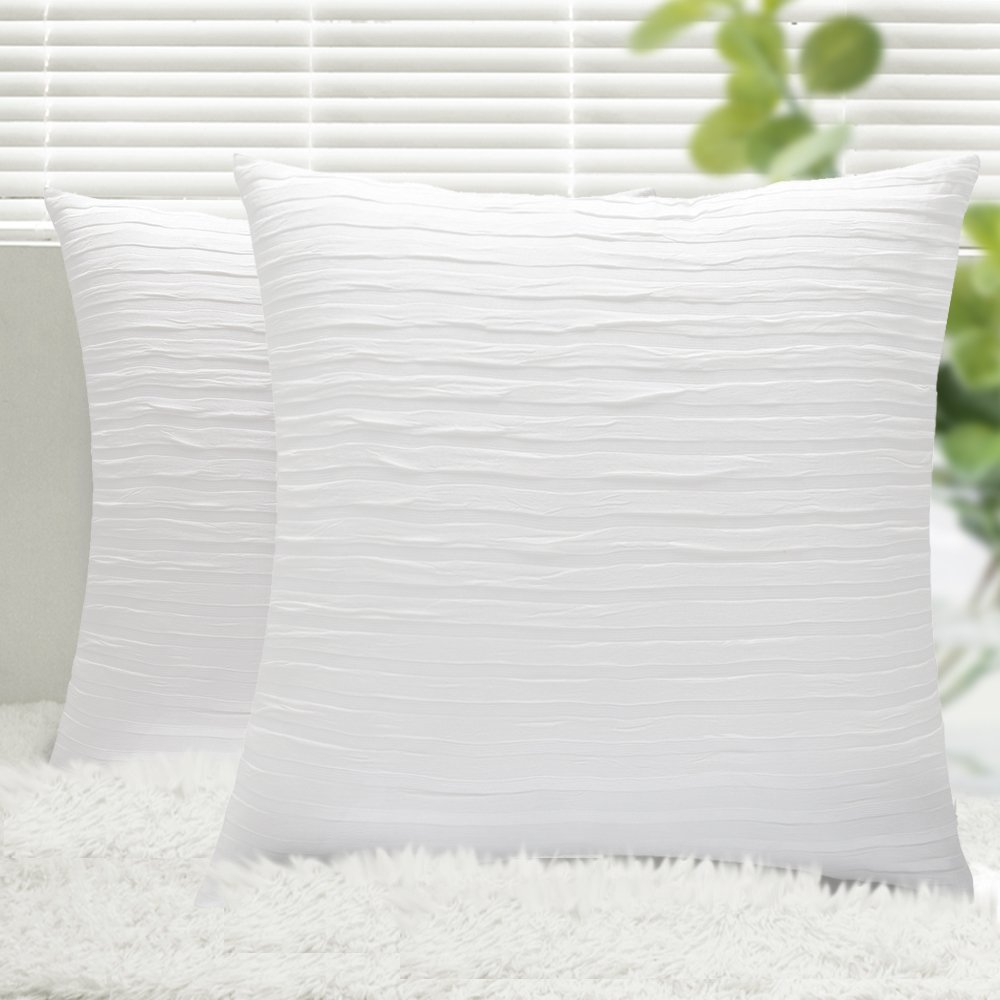 White Cotton Cushion Covers Soft Stripe Decorative Throw ...