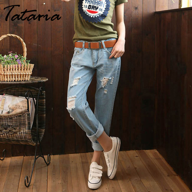 Tataria Women's Hole Ripped Jeans Women Loose Ankle-length Harem Pants Trousers Boyfriend Jeans for Womens Casual Denim Jeans