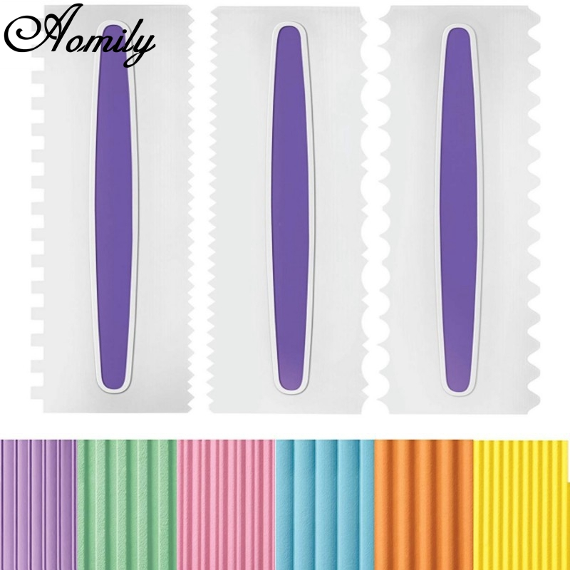 Aomily 3 Styles DIY <font><b>Cake</b></font> Plastic Spatulas Decorating Birthday Wedding <font><b>Cake</b></font> <font><b>Scrapers</b></font> <font><b>Pastry</b></font> Cutter Bakeware Home Mousse Baking image