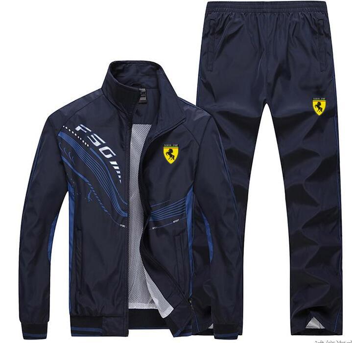 Hommes survêtement Sport mince veste manteau Top costume ensemble pantalon pantalons Sweats costumes Sportwear automne printemps sweat 6 couleurs - 4