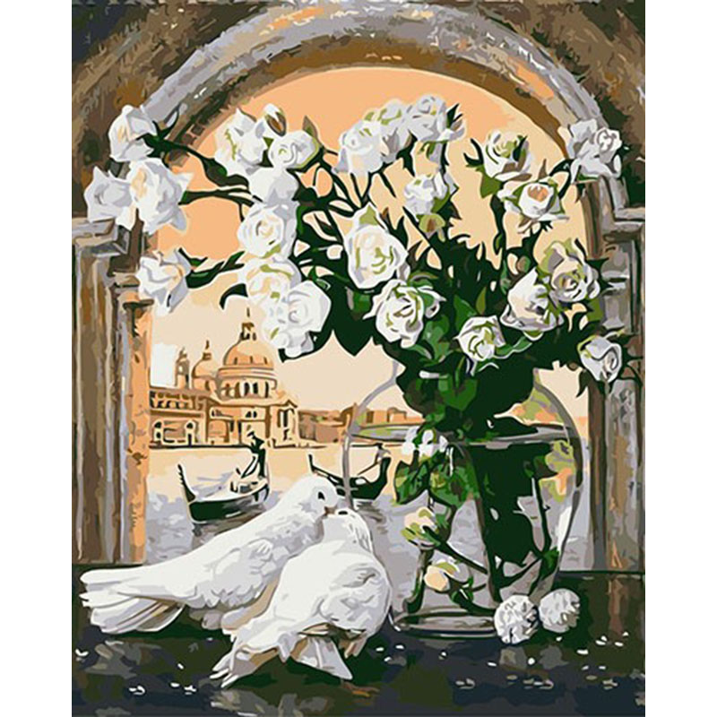 Frameless Canvas Art Oil Painting Flower Painting Design: Frameless Pigeon Flowers Diy Digital Painting By Numbers