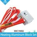 HOT! 1 Conjunto bloco de aquecimento de alumínio + Termistor de impressora 3D com luva de cobre + aquecedor de Cerâmica para Makerbot MK7 MK8 Extrusora
