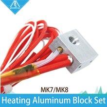 ГОРЯЧАЯ! 1 Компл. 3D принтер отопление алюминиевый блок + Термистор с медной втулкой + Керамический нагреватель для Makerbot MK7 MK8 Экструдер