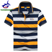 TACE&SHARK Brand Clothing 2018 Polo Shirt Striped Fashion Casual Men Cotton Shark Polos Homme Camisa Masculina High Quality 3XL