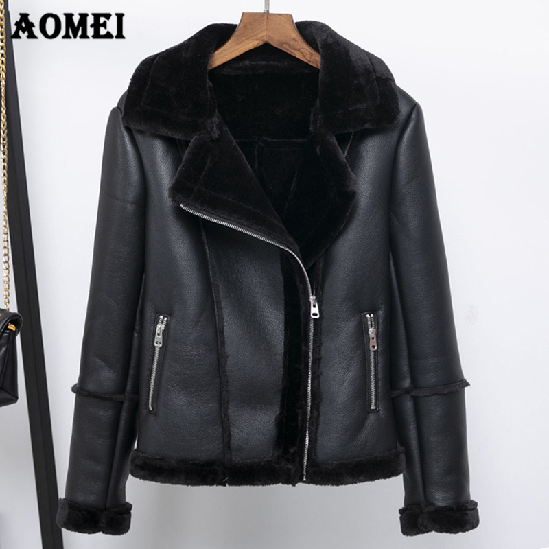 2019 Winter Warm Faux Leather Jackets Fur Collar Women Zipper Motorcycle New Cool Girls Coats Female